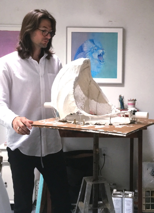 Gabriele in the studio re-reversing the readymade photo Courtesy of Richard Gabriele.